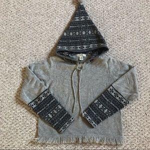 Eddie Bauer lambswool hooded fringe sweater